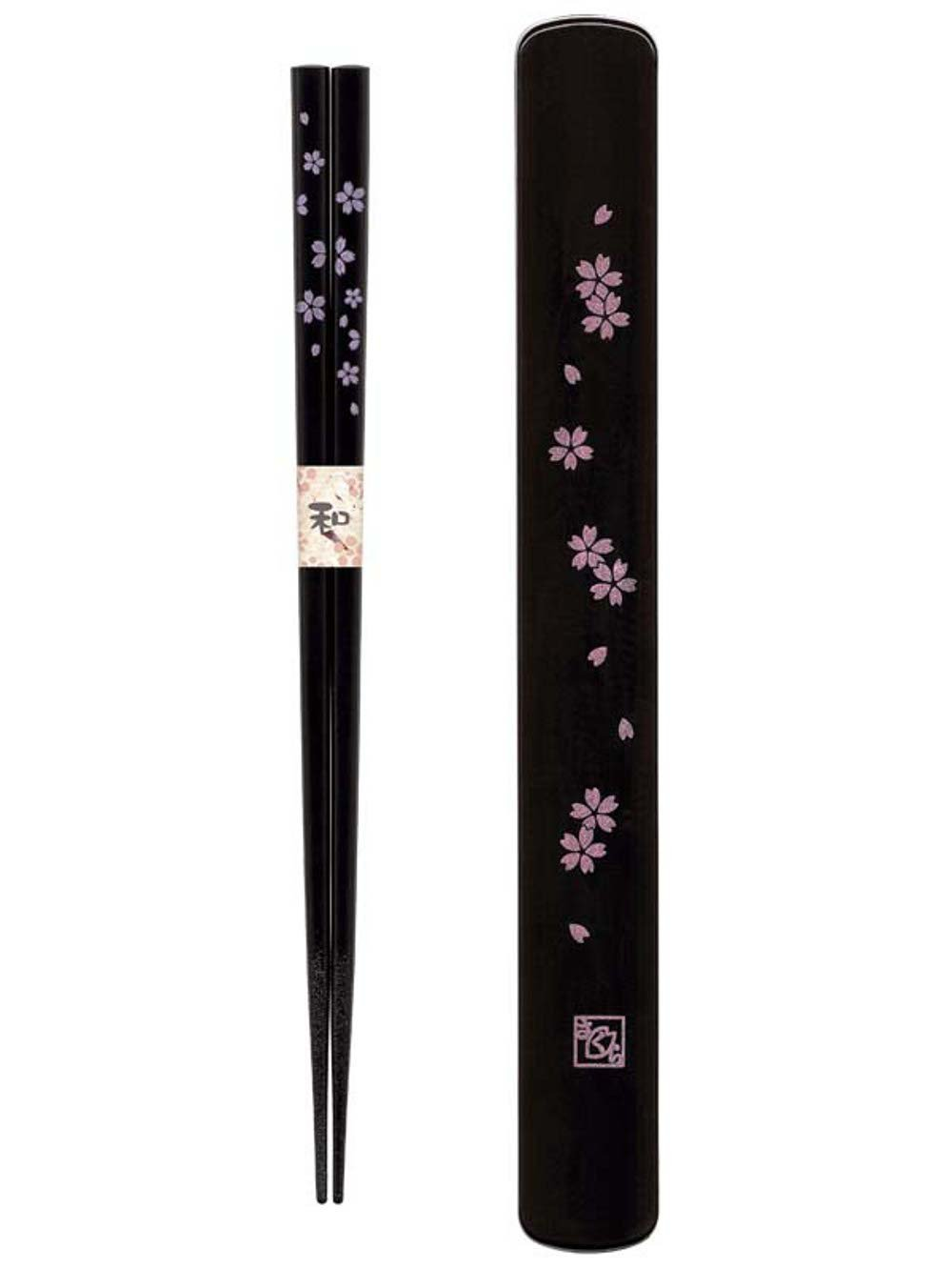 Happy Sales HSKS7/B, Travel Chopstick with Case, Black Pink Sakura Cherry Blossom