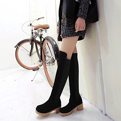 Latasa Womens Fashion Nubuck Platform Chunky Mid-heel Pull-on Knee Boots Black w869amDH3