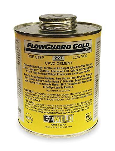(Ez Weld Cement, Yellow, 32 oz., for CPVC Pipe And Fittings - 22704, Pack of 2)