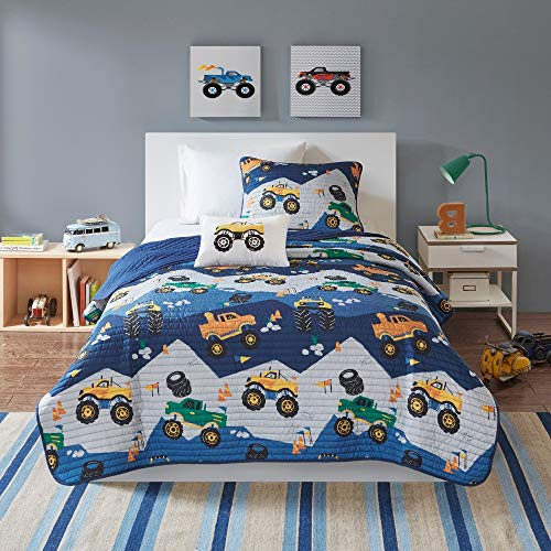 3 Piece Kids Boys Blue Orange Truck Coverlet Twin Set Transportation Themed Bedding Novelty Pattern Quilted Zigzag Transport Lorry Vehicle Traffic Road Construction Sign Motor Tyre, Polyester