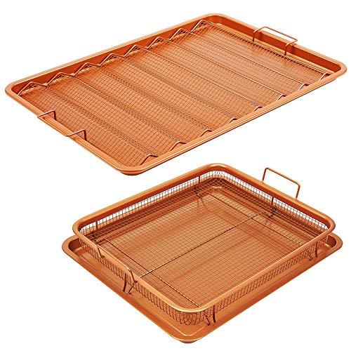 Copper Chef Pro Bacon Crisper 17.5 X 12 4 Piece Set XL Bacon Crisper and Original XL Copper Crisper