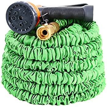Expandable Garden Hose, Ohuhu 50 Feet Strong Expanding Garden Hose, 50 ft Flexible Water Hose with All Brass Connector & 8-Pattern High Pressure Spray Nozzle
