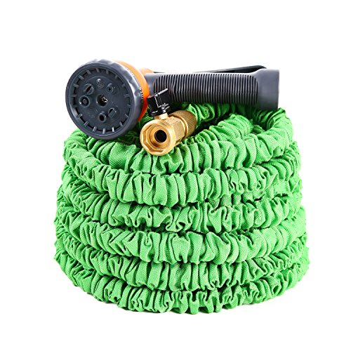 Expandable Garden Hose, Ohuhu 75 Feet Strong Expanding Garden Hose, 75 ft Water Hose with All Brass Connector & 8-Pattern High Pressure Spray (Extendable Hose)