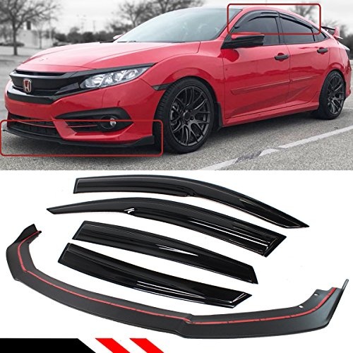 FOR 2016-2018 HONDA CIVIC 4DR SEDAN FRONT BUMPER LIP SPLITTER + SIDE WINDOW VISOR RAIN GUARD DEFLECTOR ()