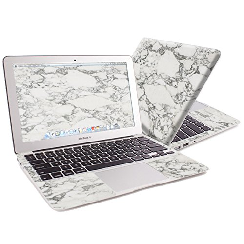 """MightySkins Protective Vinyl Skin Decal for Apple MacBook Air 11"""" wrap cover sticker skins White Marble"""