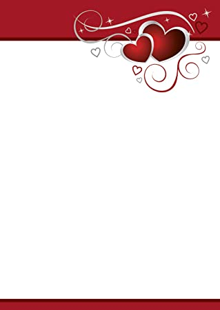 Schreibblock rote Herzen liniert A4 25 Blatt Briefpapier Motivpapier Liebe Love