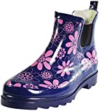 Sunville New Brand Women's Short Ankle Rubber Rain Boots,7 B(M) US,Purple Printed
