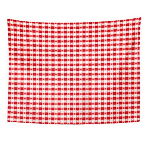 Emvency Tapestry 60 x 50 Inches Classic Gingham Check in Red and White for Picnics Decorating Arts Crafts Compatible File Tapestries Wall Hanging Art Home Decor for Bedroom Dorm Living Room ()