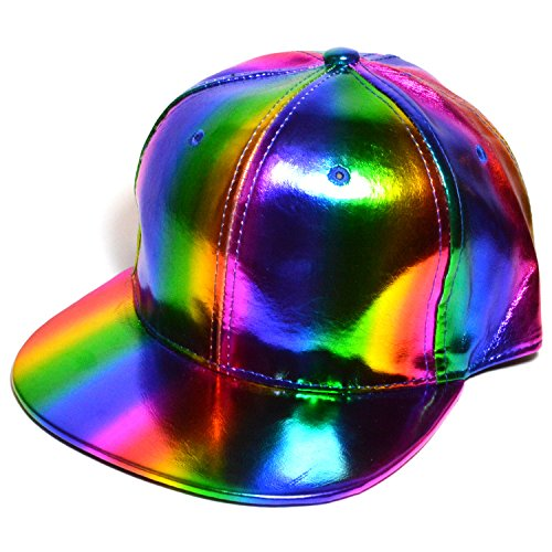 (AblessYo Rainbow Reflector Flat Snapback Or Curved Visor Baseball Cap Hats Marty McFly Hat (Style :)