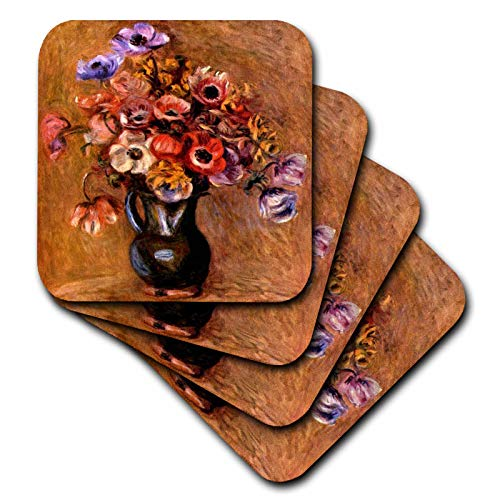- 3dRose VintageChest - Masterpieces - Renoir - Vase with Anemones - set of 4 Coasters - Soft (cst_303061_1)