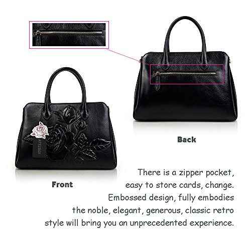 Bags APHISON Top Designer Style Black Ladies Leather Embossed Tote Handle Unique Handbags Floral Cowhide UPWwUA1qp