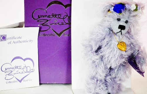 Annette Funicello Collectible Bear Co. - Eadie - of the Angel Series - 8 Inches - Soft Wavy Mohair - Halo has Ribbons & Silken Rosettes - Golden Filagree Heart Charm - Lavender - Logo Pin - COA - 1 (Logo Gold Charm)