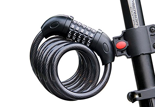 AIKATE Bike Cable Lock, Bicycle Locks 5 Digit Security Resettable Combination Self Coiling Cable Bike Lock 4 Feet X 1/2 Inch with Mounting Bracket