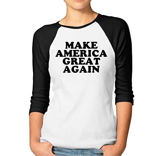 Price comparison product image BMW47' Women's Make America Great Again 3 / 4 Sleeve Raglan Tee T Shirt - Large
