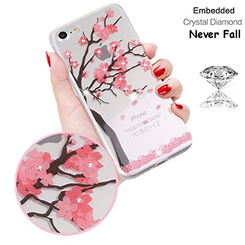 Lovely Cherry (iPhone 7 Plus Case, Bling Bling Delicate Tiny Crystal Floral Pattern Case [Embedded Crystal Diamond] Never Fall - Soft TPU Protective Back Cover Case with Lovely Cherry Blossoms (Blossom))