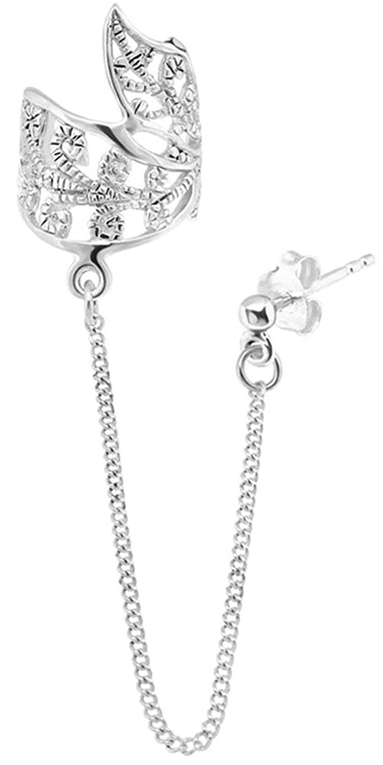 Queenberry Sterling Silver Cubic Zirconia Earring With Chain Dangle Leaf Tag Ear Cuff Wrap Stud Post aP5ufRIHUr