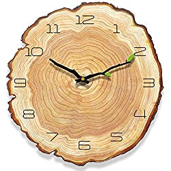 Yoillione Wooden Wall Clocks Rustic Country Kitchen Wall Clock Arabic Numbers,12 inch Non-Ticking Silent Wall Clock Vintage Modern Wood Wall Clock Decorative for Living Room Bedroom