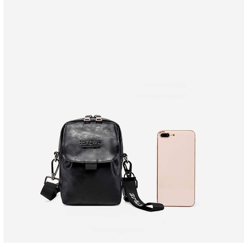 Size : 14cm7.5cm21cm OATL PU Material Shoulder Messenger Bag Mens Small Bag Shoulder Bag Messenger Bag Polyester Lining Male Tide Brand Small Bag Hip Hop Multi-Function Pocket Female Mini