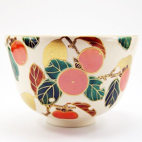 Matcha bowl overglaze enamels persimmon autumn by Minoru Park (Image #1)
