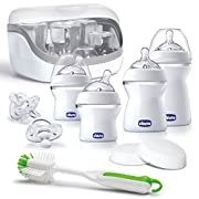 Chicco NaturalFit Baby Bottles All You Need Starter Set with Bottle Sterilizer, Bottle Brush, Orthodontic Pacifiers and Storage Lids
