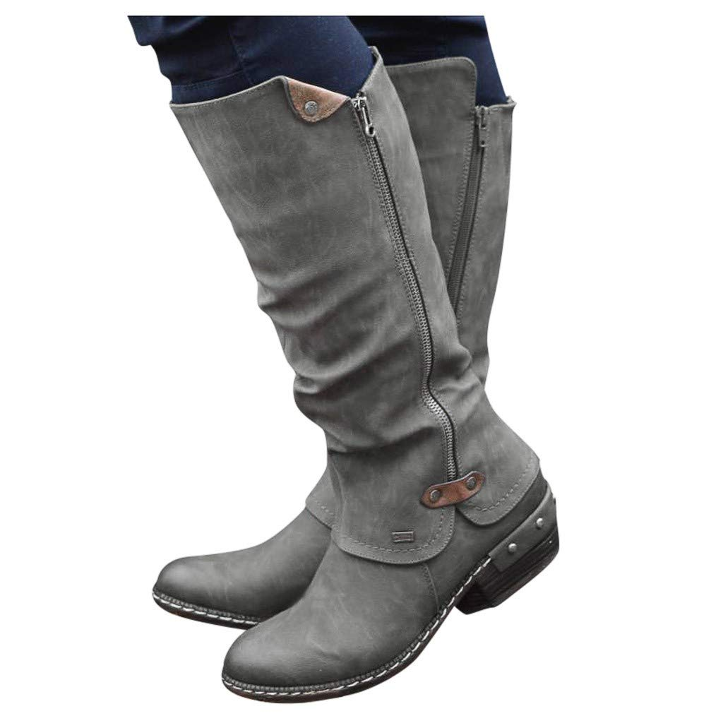 Dainzuy Wide Calf Boots for Women Round Toe Leather with Zipper Retro Womens Snow Outdoor Mid Warm Pu Lined Shoes by Dainzuy Women's Shoes
