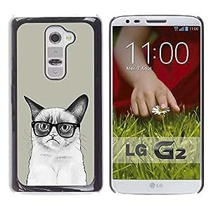 PC/Aluminum Funda Carcasa protectora para LG G2 D800 D802 D802TA D803 VS980 LS980 Siamese Cat Drawing Angry Glasses Art Hipster / JUSTGO PHONE PROTECTOR
