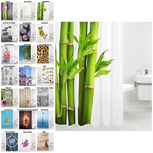 Duschvorhang, viele schöne Duschvorhänge zur Auswahl, hochwertige Qualität, inkl. 12 Ringe, wasserdicht, Anti-Schimmel-Effekt (Bambus, 180 x 180 cm)
