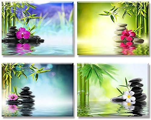 Piy 4X Impression Contemporain Zen sur Toile Spa Yoga Peinture en Bambou  Pierre de médecine Tableaux Home Déco Impermeable Mur Art pour Chambre ...