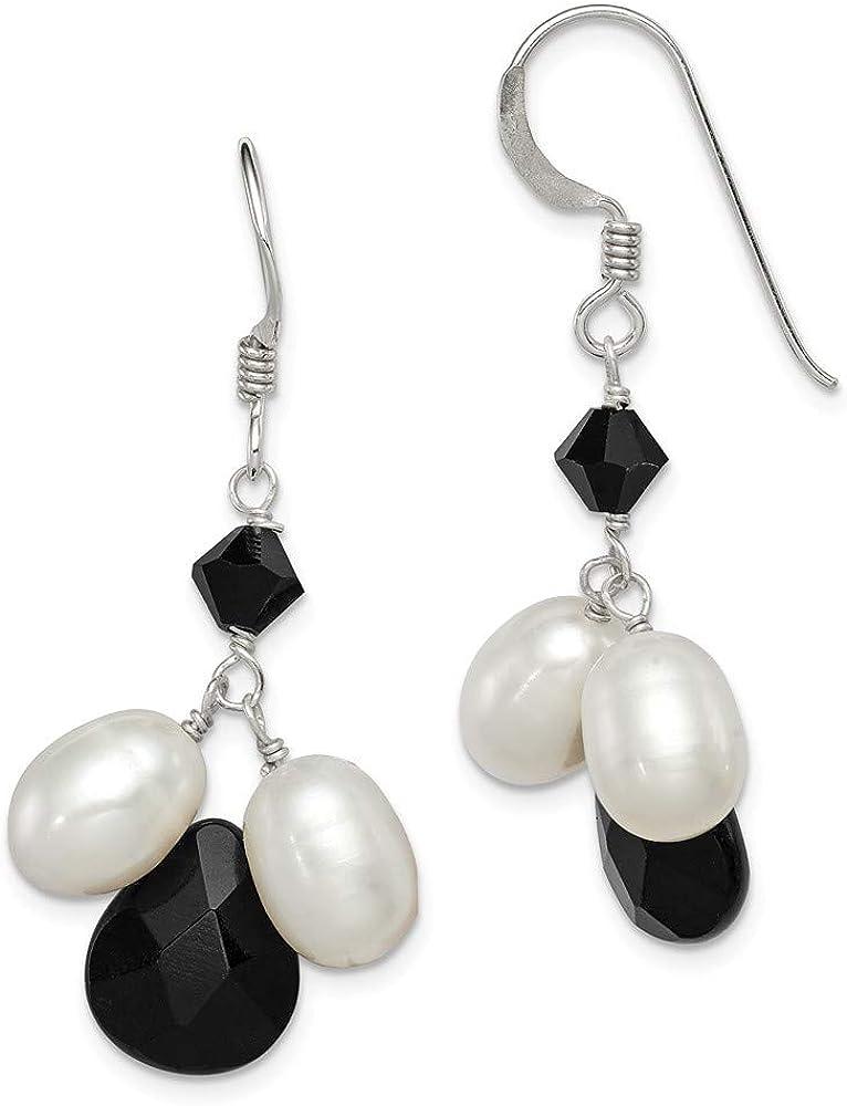Saris and Things 925 Plata esterlina Onyx, fw Blanca cultivada de Perlas y Pendientes de Cristal Negro