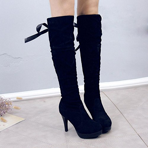 erthome Womens Fashion Boots Comfortable Flock High-Heel Thigh High Round Toe Boots Black ckJ7k5Lt9A