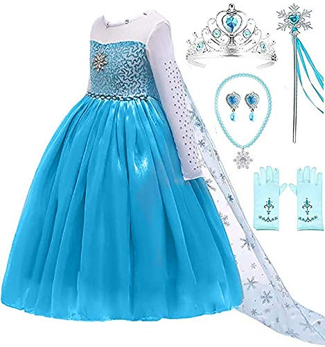 Ice Queen Glitter Princess Party Dress Costume (6-7, Blue 2) -