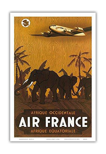 Afrique Occidentale (West Africa) Afrique Équatoriale (Equatorial Africa) - France - Elephants - Vintage Airline Travel Poster by Vincent Guerra c.1946 - Master Art Print - 12in x 18in