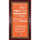 MLB Miami Marlins Subway Sign Wall Art with Authentic Dirt from Marlins Park, 16x32-Inch