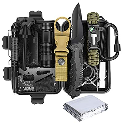 Lanqi Gifts for Men, Emergency Survival kit 14 in 1, Survival Gear, Tactical Survival Tool for Cars, Camping, Hiking, Hunting, Fishing (Survival kit 2) by Lanqi
