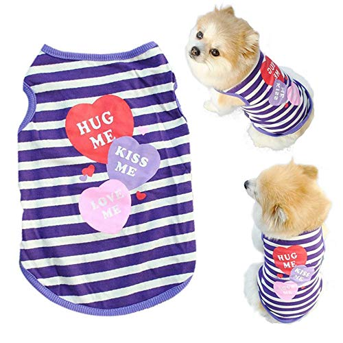 Howstar Pet Shirt, Printed Puppy Shirt Dog Clothes Soft Vest for Summer Pet Apparel (M, Purple)