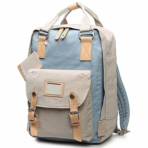 Price comparison product image Teenage Girls Kanken Backpack Student Canvas Travel Laptop Bag Women Casual School Bags Mochila Stacy Bag Patchwork Rusksack Light Blue Ivory