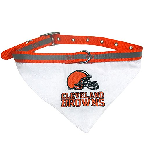 NFL BANDANA - CLEVELAND BROWNS PET BANDANA with Reflective & Adjustable PET COLLAR, Large