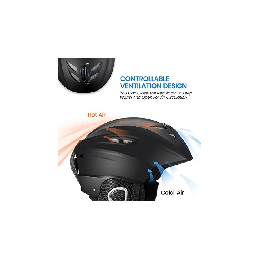 Mpow Ski Helmet, ABS & EPS Material, Controllable Ventilation, Velvet Earmuff and Lining, Ski Goggles Compatible, for Skiing, Skating, Skateboard, Bicycling, Large