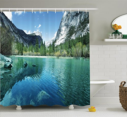 Ambesonne Country Decor Collection, Mirror Lake in Yosemite Scenic Picture with Mountains Lakeside Trees Waterscape, Polyester Fabric Bathroom Shower Curtain Set, 75 Inches Long, Turquoise Blue by Ambesonne