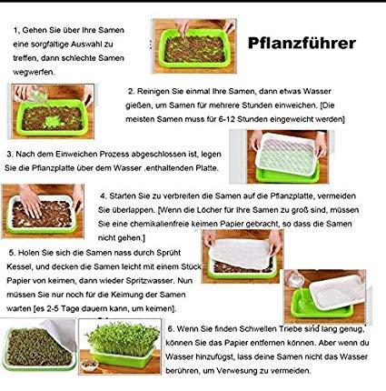 Plateau de Plantation + Bac /à Eau + Papier de Semis ANNA SHOP 4 Pi/èces Plateau de Semis Double-Couche Plateau Godet de Germination en Plastique