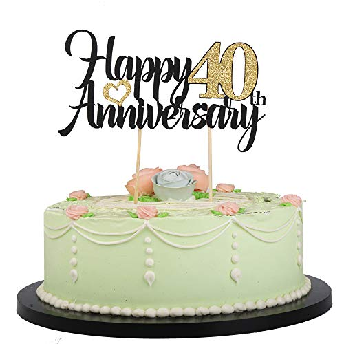 LVEUD Happy Birthday Cake Topper Black Font Golden Numbers Happy 40th Anniversary Birthday Cake Topper-Wedding,Anniversary,Birthday Party Decorations (40th)]()