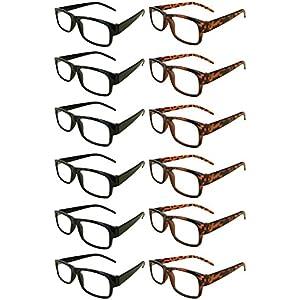 Mr. Reading Glasses [+2.75] Black and Tortoise Plastic Frame Unisex 12 Pack of Reading Glasses - 6 Black / 6 Tortoise - (+2.75)