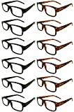 Mr. Reading Glasses [+4.00] Black and Tortoise Plastic Frame Unisex 12 Pack of Reading Glasses - 6 Black / 6 Tortoise - (+4.00)