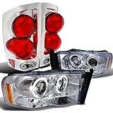 Dodge Ram Chrome Projector Halo Led Headlights, 3D Style Tail Lights
