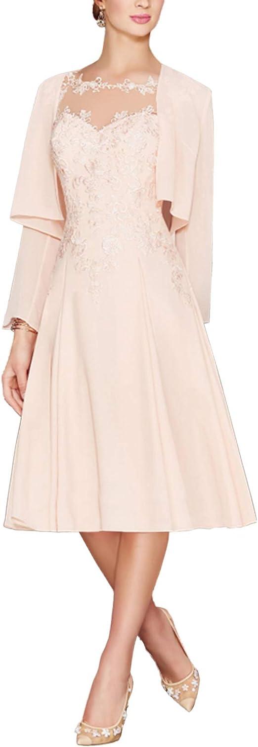 LANSITINA Übergröße Brautmutter Kleider Tee Länge Mutter des Bräutigams  Kleider für Hochzeit mit Jacken