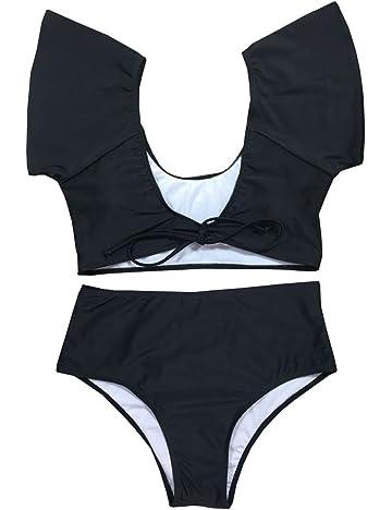 61a7b5dd6e Womens 2 Piece Ruffle Sexy V Neck High Waisted Bikini Set Monokini Swimsuit