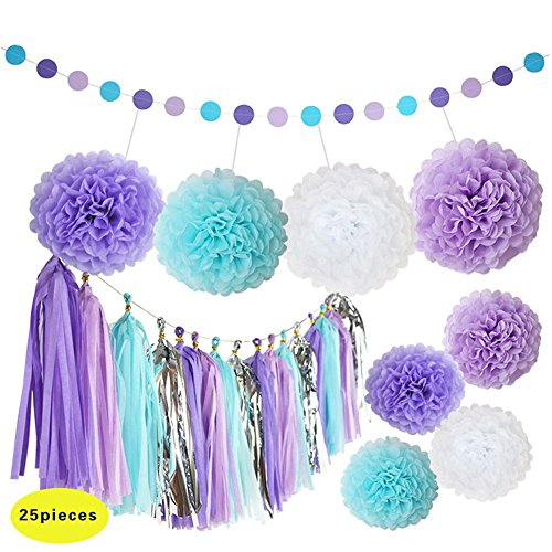 CaseFan 25 Pcs Purple and Blue Party Decorations with Tissue Pom Poms Paper Tassels Garland for Baby Shower Party Sea Theme Decoration -