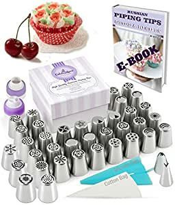 Russian Piping Tips Set 78 pcs - 38 Icing Frosting Nozzles (2 Leaf Tips) + 36 Baking Pastry Bags + 2 Couplers + Silicone Bag + Cotton Bag - Gift Box - Cake & Deco Cupcake Decorating Supplies Kit