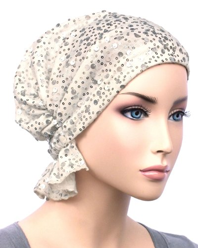 Abbey Cap Women's Chemo Hat Beanie Scarf Turban Headwear for Cancer Cotton Opal Sequin