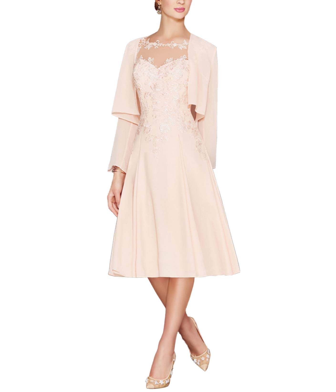 e30e054b87 LANSITINA Women s Tea Length Chiffon Mother of The Bride Dresses with Jacket(Pearl  Pink